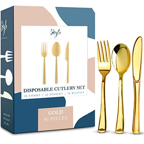 Gold Plastic Silverware Party Bulk Utensils Set – Heavy Duty Plastic Disposable Cutlery (30 Spoons, 30 Forks & 30 Knives) Ideal for Gold-Themed Elegant Parties, Birthdays, Dinner & Luxury Wedding
