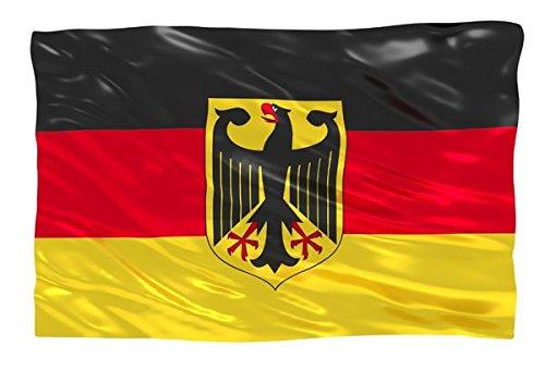 Aricona Deutschland Flagge mit Adler 90x150 cm, EM/WM Fahne aus Stoff mit doppelt umsäumten Fahnenrand, 2 Messing-Ösen zum Hissen, für Fahnenmast, Deutsche Nationalflagge