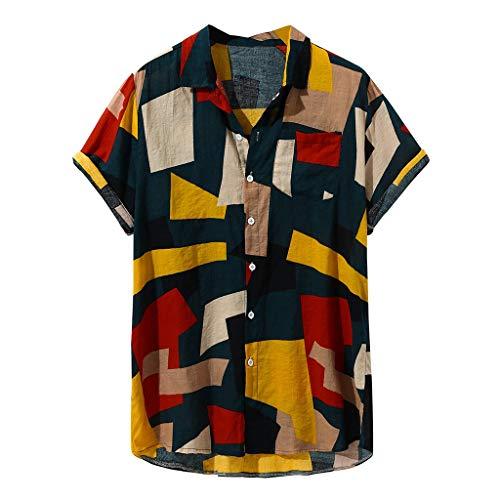 Camisetas Hombre Manga Corta SHOBDW 2019 Sólido Cuello Mao Camisa Lino Hombre Casual Moda Blusa Slim Fit Tops Hombre Tallas Grandes XXL(Negro,M)