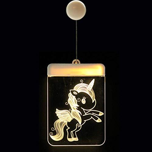 Cadena de vacaciones,Linterna decorativa de Navidad LED Batería Luz Campana Ciervo Cadena de luz Tablero de acrílico 3D Lámpara colgante Unicornio con arco iris