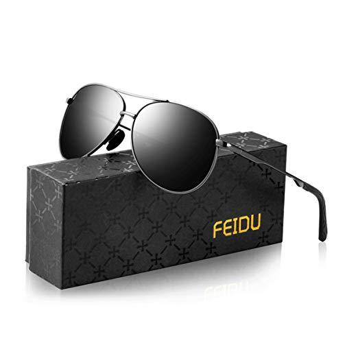 Sonnenbrille Herren Polarisierte Sonnenbrille Damen - Metallrahmen Polarisiert sonnenBrille Herren Fahren Unisex UV400 FD9002 (gun black, 2.28)