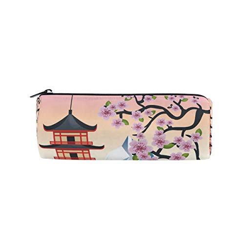 Federmäppchen Schreibwaren Japanischen Stil Baum Berg Bleistift Taschen Runde Tragbare Tasche für Schule Kinder Kinder Kosmetiktasche Make-Up Beauty Case