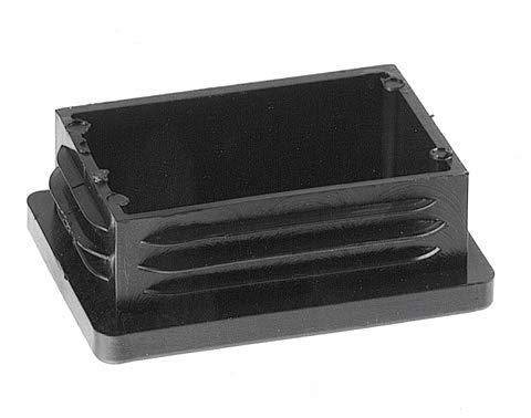 10 Piezas de tapas rectangulares de plástico para tuberías, tamaños elegible de 20x10mm a 180x60mm, tapón/ contera/ protector/ funda (medida exterior: 35x25mm, espesor de pared: 1,5-2mm, Negro)
