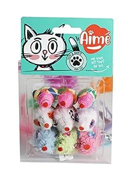 AIME Jouet pour Chat - Mini souris, Lot de 9 souris par sachet, Jeu Ludique pour Chat, Contient de l'Herbe à Chat