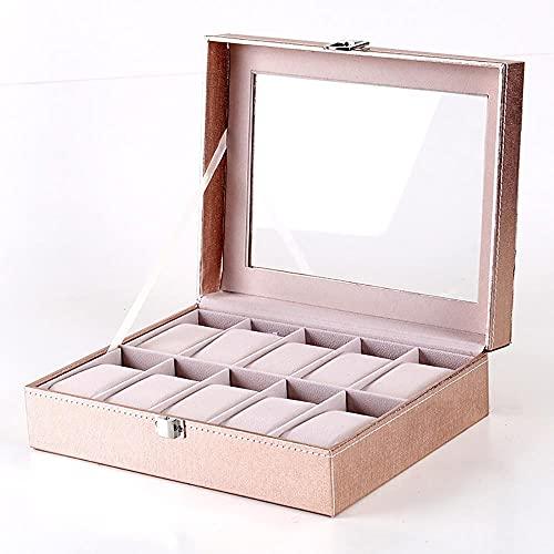 Recet Caja para 10 relojes, caja para relojes con tapa de cristal, cojín de terciopelo, caja para joyas y relojes, forro de terciopelo en color beige