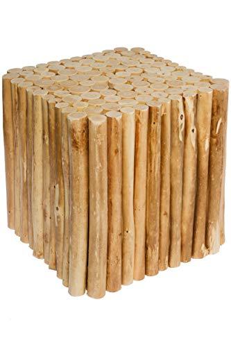 Spetebo Design houten kruk van houten bakken, zitkruk, bloemenkruk, bijzettafel, houten blok eckig naturel