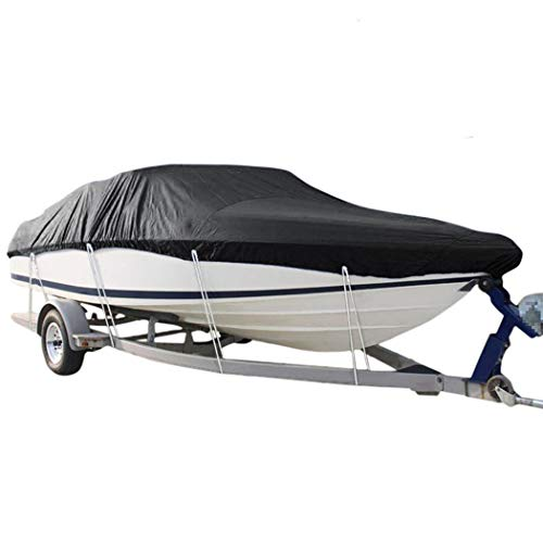 Hombosi Boat Cover, Heavy Duty 600D Waterproof Runabout Boat Cover, Fits V-Hull,Tri-Hull,Trailerable Speedboat Fishing Ski Boat Cover Outdoor Protection,20/22FT(700 * 254CM)