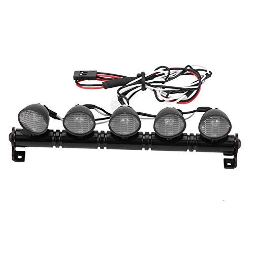 Marco de luz de techo de coche para escalada con 5 barras de luz LED, modelo realista de Rc, faros delanteros de coche adecuados para Hsp Redcat Faxail Scx10 Traxxas Trx-4, accesorios de luces de coch