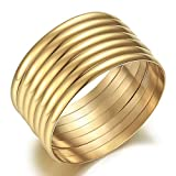 Castillna 14K Plated Gold Bangle Bracelets for Women Christmas Birthday Gifts, Set of 7 Pieces, 9 Inches