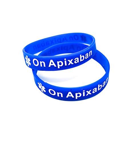 x2 On Apixaban Medical Alert Wristband Bracelet Blood Clot ID Silicone Health Awareness (Gift Box Goodies) UK (x2 Blue)