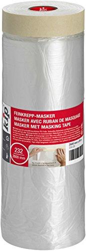 Kip Tape 232-25 Feinkrepp-Masker – Abdeckfolie mit Kreppband zum Streichen & Lackieren – Schutz vor Farbflecken – 2600mm x 25m