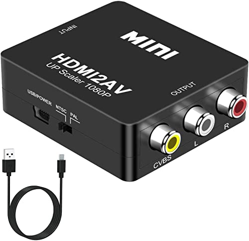 DIGITNOW! HDMI a AV 3 RCA CVBS Compuesto Adaptador Convertidor Conversor de Video y Audio de señal Mini 1080P con Cable de Carga USB ,Compatible para PC/Laptop/Xbox / PS4 / PS3 / TV/VCR Cámara DVD