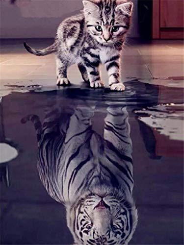 5D DIY diamant schilderij dier reflectie kat tijger huisdecoratie kruis Ctitch kit volledige ronde boren borduurwerk kunst ambacht verzenden geschenken 40x50cm