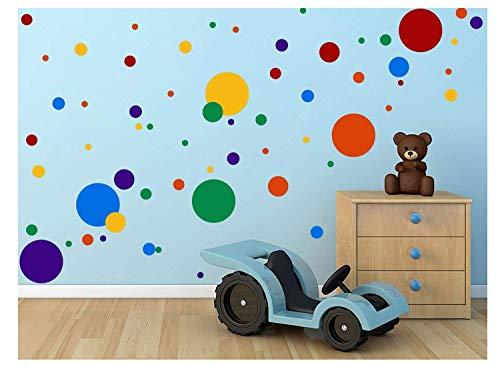 Kair 132 pegatinas de pared con lunares de colores, pegatinas de pared para habitación infantil y bebé