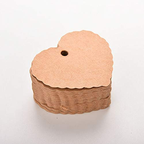 ZBXCVZH 100 Pcs/lot Mini Kraft Paper Heart Greeting Cards Wedding Party Gift Card Label Blank Luggage Tags (Color : Brown)