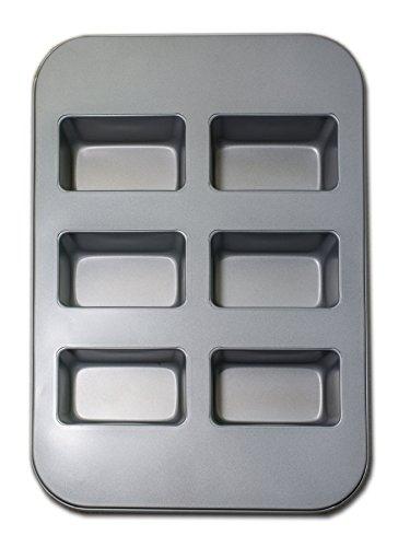 Alpfa Fisko Mini Kastenkuchen Backblech für 6 Formen 38x26x4.5cm, Einzelform 10x6x4.5cm