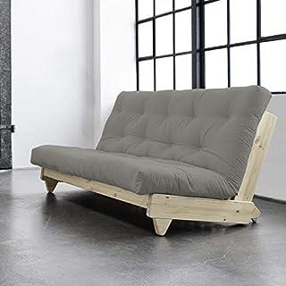 Alfred & Compagnie - Divano convertibile + futon ELLEN 140 x 200 cm, pino naturale verniciato