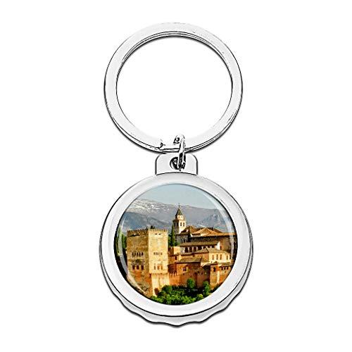 Hqiyaols Keychain España Alhambra Palacio Castillo Carlos V Granada Andalucía Gorra Abrebotellas Llavero Creativo Cristal Acero Inoxidable Llaveros Viajes Recuerdo