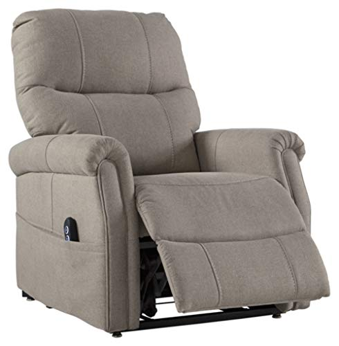Signature Design by Ashley - Markridge Transitional Upholstered Power Lift Recliner - Adjustable - Gray