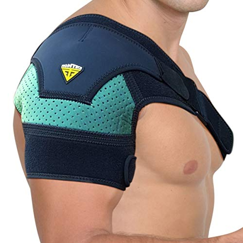 FIGHTECH Shoulder Brace for Men and Women | Compression Support for Torn Rotator Cuff and Other Shoulder Injuries | Left or Right Arm (Mint, Large/X-Large)