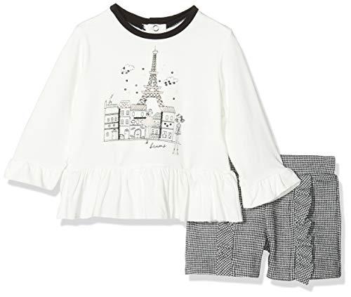 MEK Completo 2 Pezzi T-Shirt Jersey Viscosa Elasticizzato E Shorts Punto Milano Conjunto de Ropa, Multicolor (Bianco/Negro 01 913), 80 (Talla del Fabricante: 12M) para Bebés