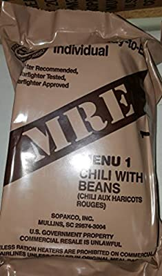2021 Genuine Military MRE Meals Ready to Eat with Inspection Date 2021 or Newer (Chili with Beans)