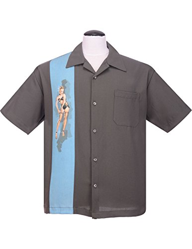Steady Pinup Grey Girl Bowling Camp Lounge Shirt Retro 1950s 50s One Panel (3XL or XXXL)