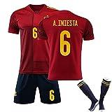 Los Uniformes De Fútbol para Niños Y Hombres Son Adecuados para España Camisetas De Iniesta 6# ISCO 10#, Ropa Deportiva De Entrenamiento De Secado Rápido Personali 6#-2XL