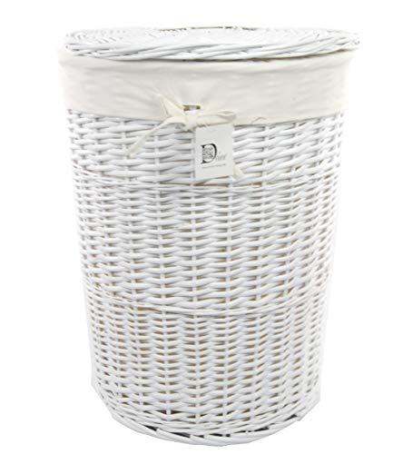 DVier Wäschekorb Wäschesammler Wäschetruhe Wäscheständer Weide Weiß rund mit Bezug Deckel D.46 H.62