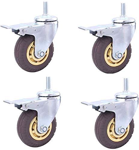 Knoijijuo Rodillos X4 75/100 / 125 mm (3/4/5 en) Rodillos de Transporte de Alta Resistencia, Ruedas de Goma, Ruedas de Carro industriales con Frenos, Tornillos M12 * 30,Withbrake,100mm(4in)