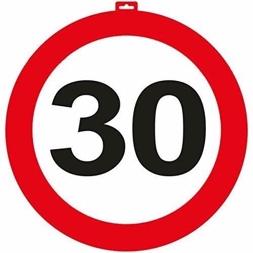 Carpeta® - Riesen Verkehrsschild * Zahl 30 * ┃ Ø 47,5cm ┃ Deko 30. Geburtstag ┃ Türschild und Straßenschild ┃ Mit & ohne Aufhänger ✔