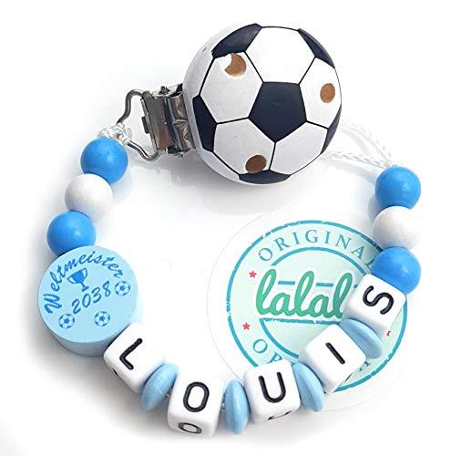 LALALO Schnullerkette Fußball mit Namen, Junge, Baby Fussball Motiv Weltmeister 2038 aus Holz, Handmade Individuelle Jungs Namenskette zur Geburt, Geburtstag, Weihnachten, Taufe (Blau/Weiß)