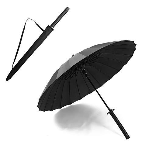 WNN-URG Paraguas, Estilo japonés, Paraguas Largo con 24 Costillas del Paraguas de la manija Creativa Fuerte Sol con Estilo Paraguas de la Lluvia Regalo de la decoración (Negro) WNN-URG