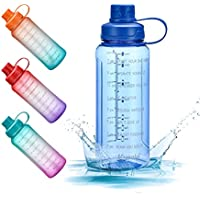 32 oz Motivational Water Bottle with Time Marker Reminder & Straw