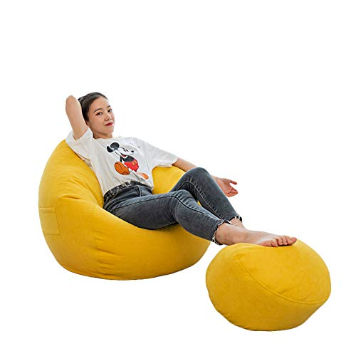 RTMX&kk Sitzsack Sofa Stuhlbezug Bean Bag Covers Stofftier-Aufbewahrung Indoor Bodenkissen Chair Sitzsäcke Möbel Kissen Sessel Ohne Füllung,Gelb,S