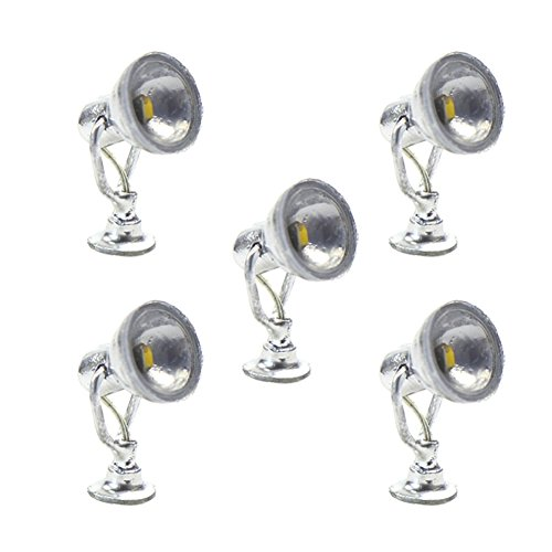 Evemodel LYM20 5 STK. LED Wegeleuchte Spur H0 / 00 / 0 Spot Lampe Strahler Leuchte NEU
