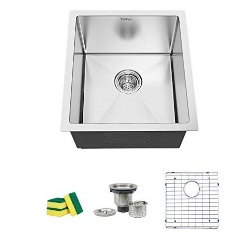TORVA 15 x 17 Inch Undermount Kitchen Sink, 16 Gauge Stainless Steel Wet Bar or Prep Sinks Single Bowl, Fits 18