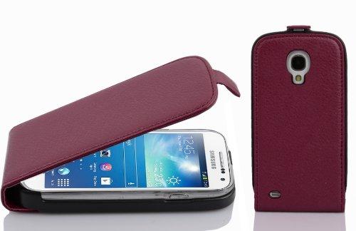 Cadorabo Hülle für Samsung Galaxy S4 Mini - Hülle in Bordeaux LILA – Handyhülle aus Strukturiertem Kunstleder im Flip Design - Case Cover Schutzhülle Etui Tasche