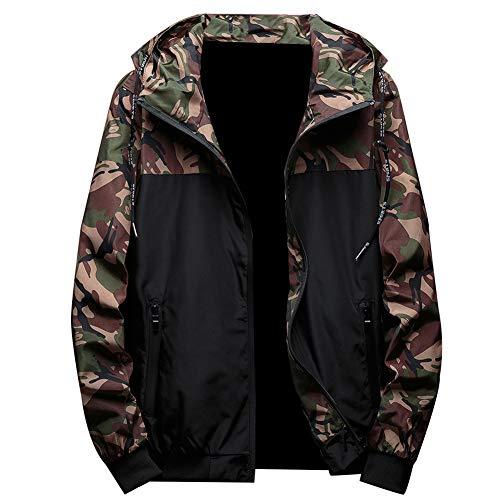 Autunno Inverno Giacche Uomini Camouflage Con Cappuccio Cappotti Casual Cerniera Maschio Giacca A Vento Uomini Abbigliamento Giacche Vestiti per gli Uomini Streetwear Verde militare XXXXL