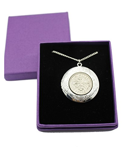 Year 1960 Lucky Sixpence Locket on 20' Silver Plated Chain, Sixpence Necklace