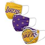 FOCO NBA Team - Juego de 3 fundas para la cara (Los Angeles Lakers)