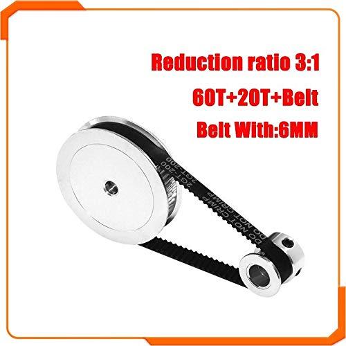 NO LOGO L-TAO-Pulley, 1set GT2 Timing puleggia 60teeth 20teeth 5mm / 8mm di riduzione 3: 1/1: 3 Larghezza della Cinghia 6mm for 3D Accessori for la Stampa (Colore : 610MM, Taglia : 20T5 60T5)