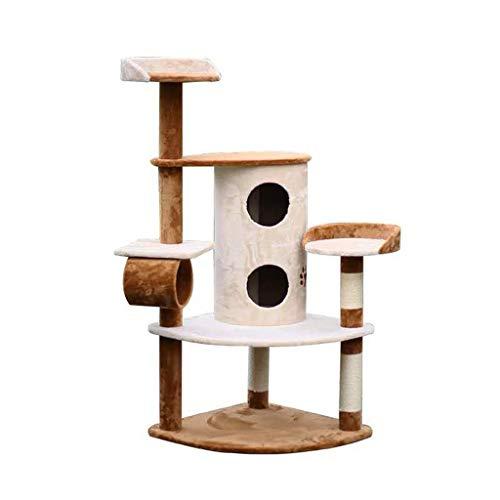 Zhou Große Massivholz Katze Klettergerüst, Kleintier Kratzbaum Katzensprungplattform Einteiliges Katzenkratzbrett aus Holz yan (Size : 64 * 64 * 150cm)