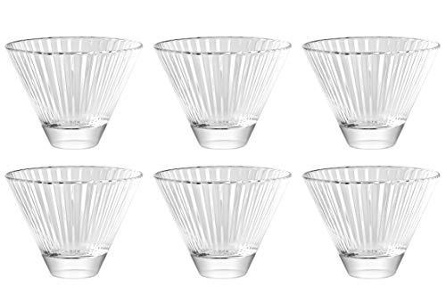 Martini-Gläser, ohne Stiel, 6–325 ml Barski – europäische Qualität – Stemless Cocktail – Martinis – mit vertikalen Linien, 325 ml, hergestellt in Europa