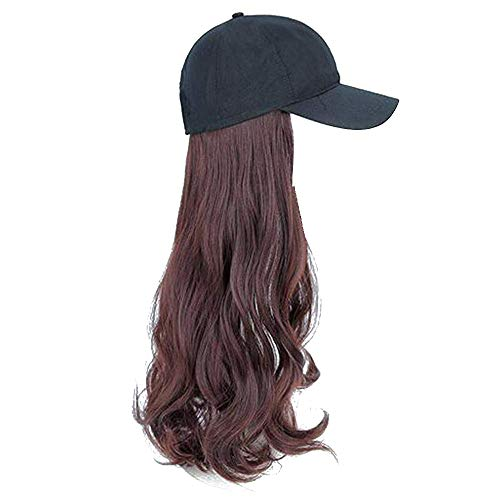 Damen Elegant Einteiler Hut Perücke Lang Lockig Haar Perücke Gr. Einheitsgröße, hellbraun