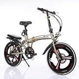 Mdsfe Bicicleta Plegable Cambio de Velocidad de 20 Pulgadas Disco de Freno Rejilla Tres Cuchillas Bicicleta portátil para Adultos pequeña para Hombres y Mujeres Ultraligeros - Plateado