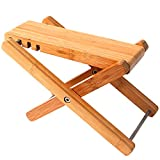 Miwayer Bamboo 4 Gears Adjustable Upscale Guitar Foot Rest Non-slip Foot Stool Foldable Footrest from 4.5' up to 8',Accessory for Classical Acoustic Guitar Part