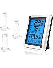 デジタル温湿度計 屋内屋外温度計 湿度計 外気温度計 ワイヤレス温度計 温度湿度計 室内 室外 高精度 LCDバックライト 天気予報 低電力インジケーター オフィス 置き掛け両用タイプ 家庭用(3つセンサー)