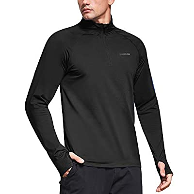 Ogeenier Men's Quarter Zip Pullover Thermal Long Sleeve Golf Workout Running Shirts Fleece Lined Top with Thumb Holes,Black,M
