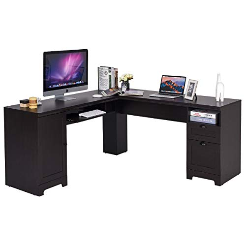 Tangkula 66' × 66' L-Shaped Desk, Corner Computer Desk, with Drawers and...
